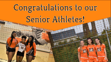 Congratulations to our Senior Athletes Image includes pictures of three senior volleyball players and three senior soccer players