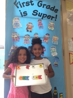 First Graders from Mrs. Bishop & Mrs. Bradley's class showing off their Word Work skills!