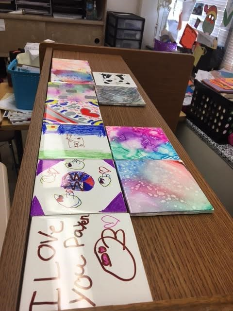Activity Day painting decorative tiles with Mrs. Berger & Mrs. Miller