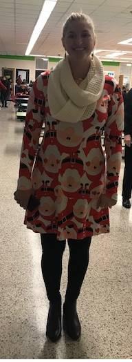 Ms. Costin bringing Holiday Cheer