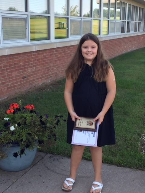 Congratulations to Quinn Hodapp! She had a PERFECT SCORE in Math for Grade 4 last year!!