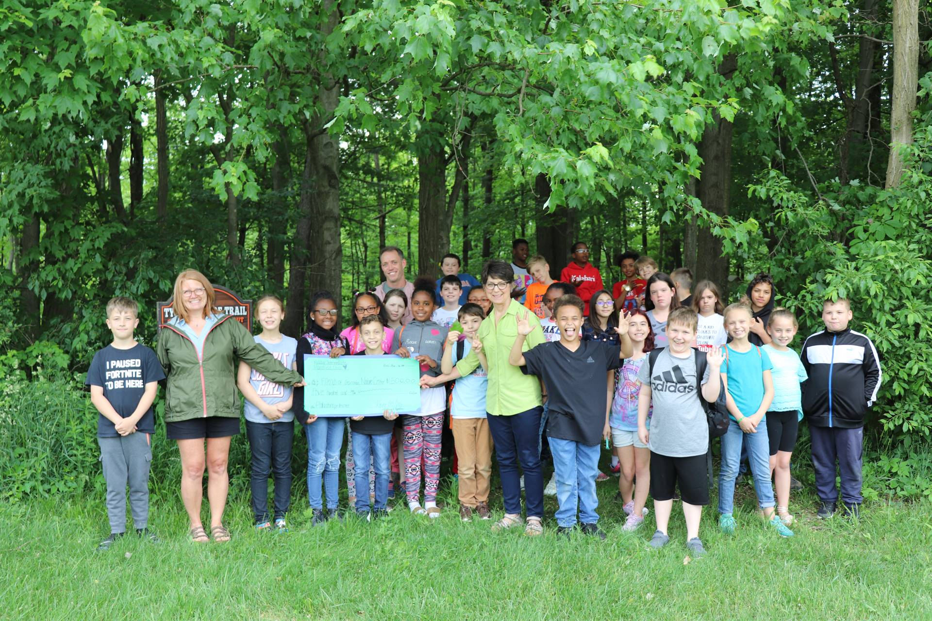 Mrs. Uhde, Miss Steiner & Mrs. Houseworth students $500. donation to Friends of Gorman Nature Center