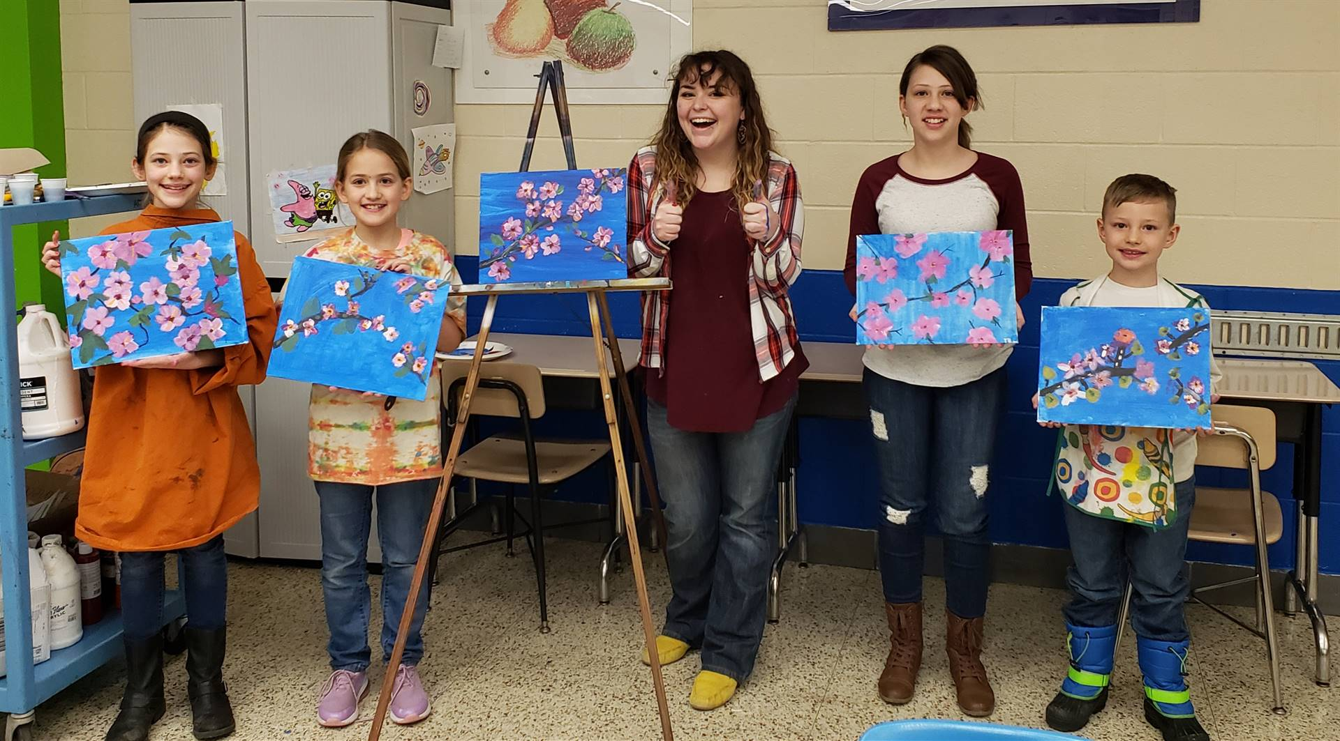 """Ms. Mewhinney & The Beasleys & their """"Happy Little Paintings"""""""