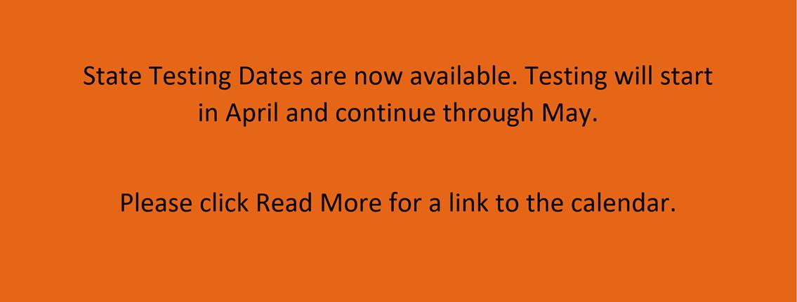 2021 State Testing dates
