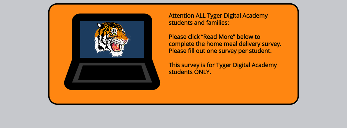 Click Read More to complete the Meal Delivery survey for TDA students only.